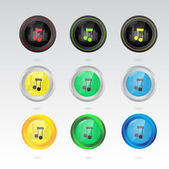 Music note button — Vettoriale Stock