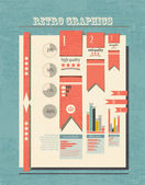 Retro Step By Step Infographic — Stock Vector