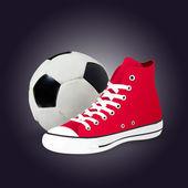 Zapatos y pelota de futbol — Vector de stock