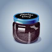 Black caviar vector illustration — Stock Vector