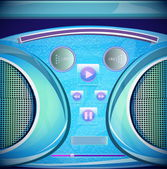 Set of stereo CD mp3 radio recorder boombox — Stock Vector