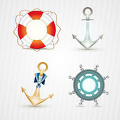 Set of Nautical objects — Stock Vector