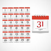 Set of red calendar icon with days of month — Stock Vector