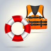 Llife jacket ,life buoys — Stock Vector