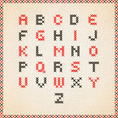 Cross stitch vector alphabet — Stock Vector
