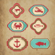 Sea retro icons — Stock Vector