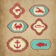 Sea retro icons - Stock Vector