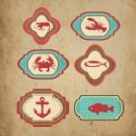 Sea retro icons — Stock Vector
