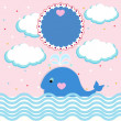Summer card with little whale — Stock Vector