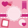 Vector set of pink frames with hearts. — Stock Vector #25242425