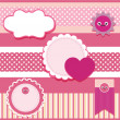 Vector set of pink frames with hearts. — Stock Vector
