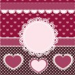 Vector set of pink frames with hearts. — Vettoriale Stock