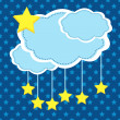 Night background with paper clouds and stars. — Stock Vector