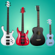 Set of vector guitars - Stock Vector