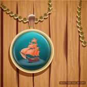 Pendant with ship illustration — Stock Vector