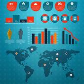 Retro infografiken satz. — Stockvektor