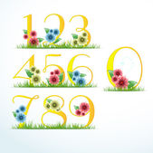 Numbers in floral style — Stock Vector