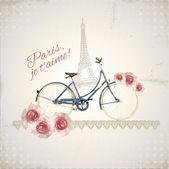 Postal romántica de parís — Vector de stock