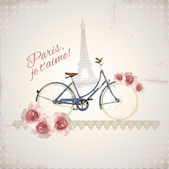 Romantic postcard from Paris — Stok Vektör