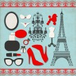 Stock Vector: Vector set of various icons about france