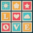 Set of vintage vector love background - Stock Vector