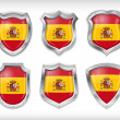 Spain flag on metal shiny shield vector — Stock Vector
