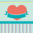 Stock Vector: Vector background retro heart