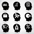Head brain vector labels set — Stockvektor