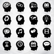 Head brain vector labels set - Stock Vector