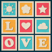 Set of vintage vector love background — Stock Vector