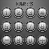 Vector set of number buttons — Stock Vector