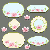 Set of flora frames vector — Stock Vector