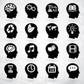 Head brain vector labels set — Stock Vector