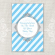 Baby boy greeting card. — ストックベクタ