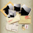 Set of envelope, stamp and instant photo frame. - Stock Vector