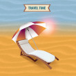 Lounger on the beach — Stock Vector