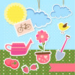 Background with garden items — Stock Vector