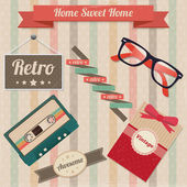 Vector set of retro elements — Stock Vector