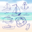 Royalty-Free Stock Vector Image: Sea and hand-drawn boat set