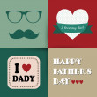 Stock Vector: Happy fathers day vintage card
