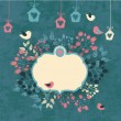Vintage floral background with cute birds - Imagen vectorial