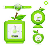 Vector icon set. Eco watch — Stock Vector