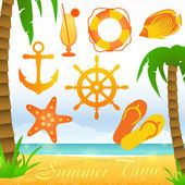 Summer time collection elements — Stock Vector