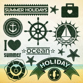 Summer holiday icons. — Stok Vektör