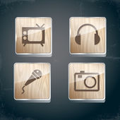 Set of photo, video and musical icons — Stock Vector