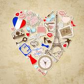 Paris bölgesindeki seviyorum — Stok Vektör