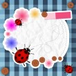 Cute pink frame with flowers, buttons and ladybug — Stock Vector #25968141