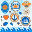 Stock Vector: Vector set of sea emblems