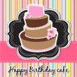 Vector happy birthday card with birthday cake. — Векторная иллюстрация