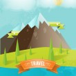 Travel card with mountains — Stock Vector